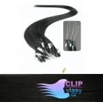 41 cm REMY vlasy na ring 0,5g/pr. - uhľovo čierna #1
