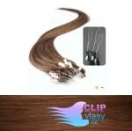 41 cm REMY vlasy na ring 0,7g/pr. - svetlejšia hnedá #6