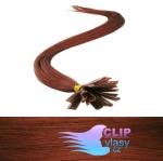51 cm REMY vlasy na keratín 0,7g/pr. - medená #350