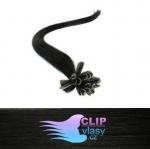 51 cm REMY vlasy na keratín 0,5g/pr. - uhľovo čierna #1