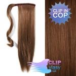 Clip in rovný cop 60cm - svetlejšia hnedá #6