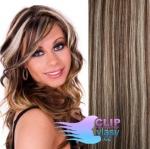Clip in vlasy - melír čokoládovohnedá a blond #4/22