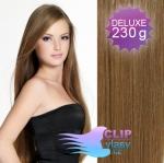 DELUXE Clip in vlasy REMY - svetlo hnedé #12