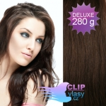 DELUXE Clip in vlasy REMY - čokoládovo hnedá #4