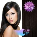 DELUXE Clip in vlasy REMY - prírodná čierna #1b