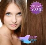 DELUXE Clip in vlasy REMY - svetlejšia hnedá #6