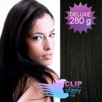 DELUXE Clip in vlasy REMY - uhľovo čierna #1