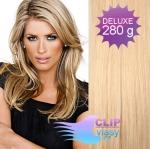 DELUXE Clip in vlasy REMY - prírodná/svetlejšia blond #18/22