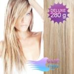 DELUXE Clip in vlasy REMY - platina/svetlo hnedá #60/16