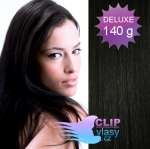 DELUXE Clip in vlasy 41cm REMY - uhľovo čierna #1