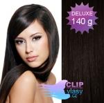 DELUXE Clip in vlasy 41cm REMY - prírodná čierna #1b