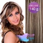 DELUXE Clip in vlasy 41cm REMY - tmavý melír #4/27