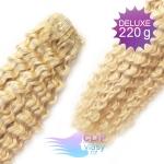 Kudrnaté DELUXE Clip in vlasy REMY - platinově blond #60