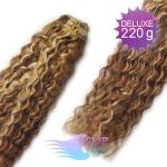 Kudrnaté DELUXE Clip in vlasy REMY - melír blond a čokoládovo hnedá #4/22