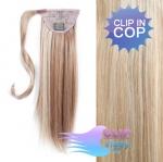 Vlasový clip in cop 50cm - platina/svetlo hneda #60/16