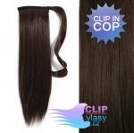Vlasový clip in cop 60cm - tmavohnedá #2
