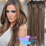Vlasový clip in pás 40cm - tmavý melír #4/27