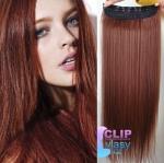 Vlasový clip in pás 40cm - medená #350