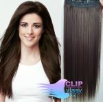 Vlasový clip in pás 50cm - tmavohnedá #2
