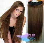 Vlasový clip in pás 50cm - svetlejšia hnedá #6