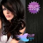 Vlnité DELUXE Clip in vlasy REMY - čierna #1
