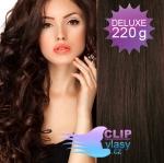 Vlnité DELUXE Clip in vlasy REMY - tmavo hnedá #2