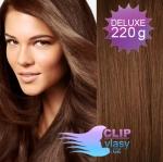 Vlnité DELUXE Clip in vlasy REMY - svetlejšia hnedá #6