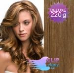 Vlnité DELUXE Clip in vlasy REMY - svetlo hnedé #12