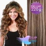 Vlnité DELUXE Clip in vlasy REMY - tmavý melír #4/27