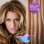 Vlnité DELUXE Clip in vlasy REMY - svetlý melír #12/613