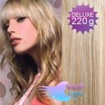 Vlnité DELUXE Clip in vlasy REMY - platina/svetlo hnedá #60/16