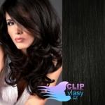 Vlnité clip in vlasy - uhľovočierna #1