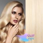 Vlnité clip in vlasy - platina #60